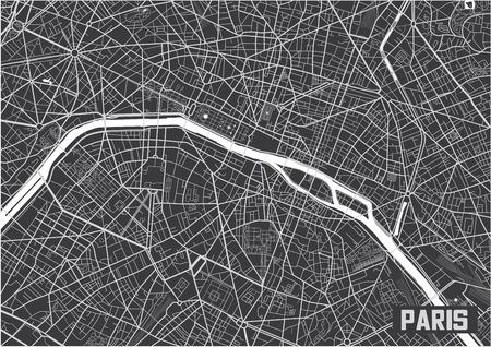 Minimalistic Paris city map poster design. Vettoriali
