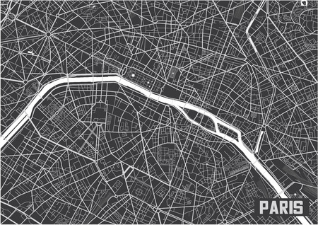 Minimalistisch Parijs stadsplattegrond posterontwerp.