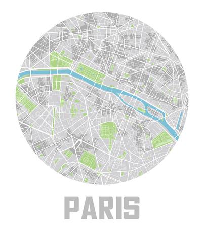 Minimalistic Paris city map icon. Illusztráció