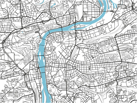 Black and white vector city map of Prague with well organized separated layers. 矢量图像