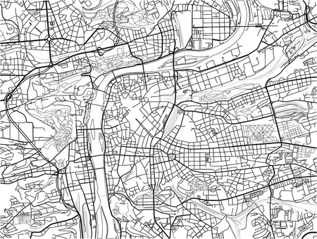 Black and white vector city map of Prague with well organized separated layers. Ilustração