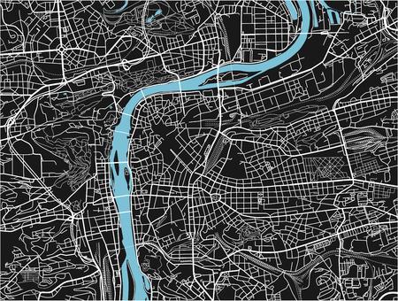 Schwarz-Weiß-Vektor-Stadtplan von Prag mit gut organisierten getrennten Schichten. Vektorgrafik