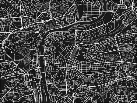 Schwarz-Weiß-Vektor-Stadtplan von Prag mit gut organisierten getrennten Schichten.