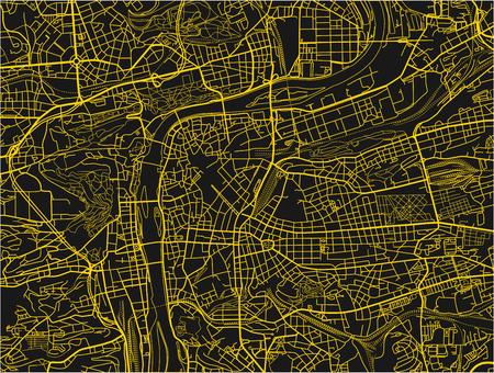 Schwarz-gelber Vektorstadtplan von Prag mit gut organisierten getrennten Schichten.
