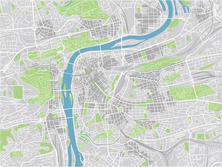 Vektorstadtplan von Prag mit gut organisierten getrennten Schichten.