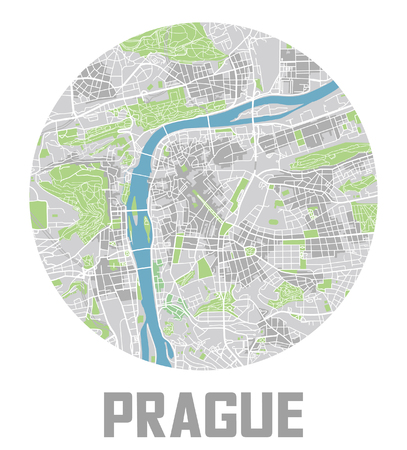 Minimalistic Prague city map icon.