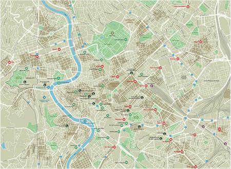 잘 구성된 분리된 레이어가 있는 로마의 벡터 도시 지도.
