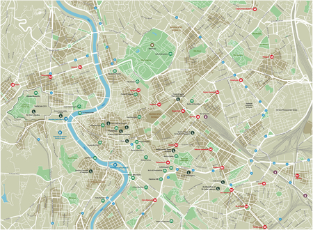 Vector city map of Rome with well organized separated layers. Vectores