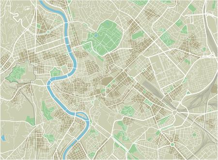 Mappa vettoriale della città di Roma con strati separati ben organizzati.