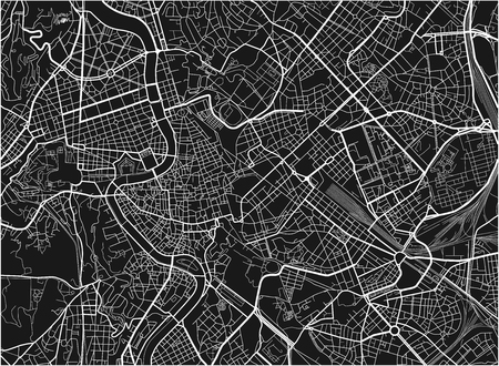 Black and white vector city map of Rome with well organized separated layers.