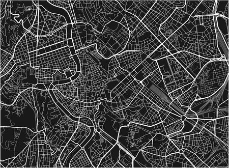Zwart-wit vector stadsplattegrond van Rome met goed georganiseerde gescheiden lagen.