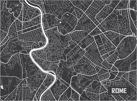 Diseño minimalista del cartel del mapa de la ciudad de Roma.