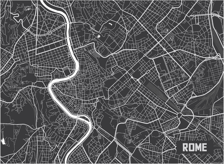 Minimalistic Rome city map poster design.