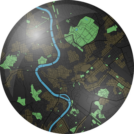 Rome vector map with dark colors. Çizim