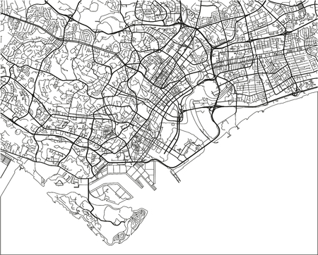 Black and white vector city map of Singapore with well organized separated layers. Illustration