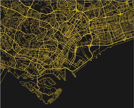 Black and yellow vector city map of Singapore with well organized separated layers.