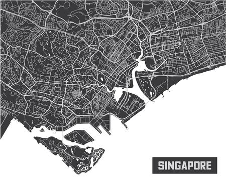 Minimalistic Singapore city map poster design.