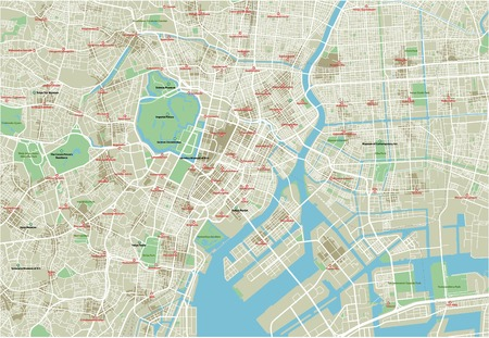 Vector city map of Tokyo with well organized separated layers.  イラスト・ベクター素材