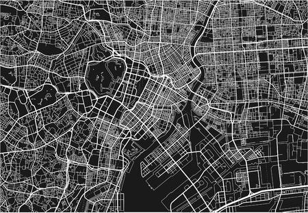 Black and white vector city map of Tokyo with well organized separated layers.