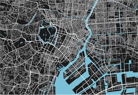 Schwarz-Weiß-Vektor-Stadtplan von Tokio mit gut organisierten getrennten Schichten.