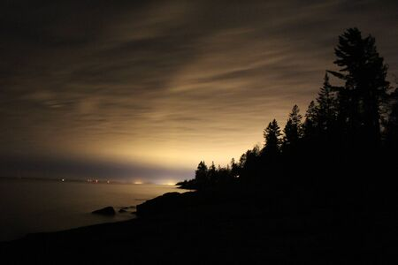superior: Night sky over Lake Superior