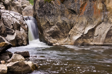 cache la poudre: Third and final fall in a group off falls known as Poudre Falls on the Cache La Poudre River in northern Colorado Stock Photo