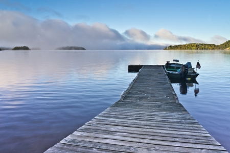 Fishing dock on White Iron Lake, Minnesota photo