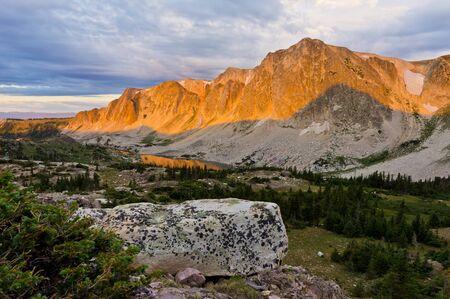 alpenglow: Morning alpenglow on Wyomings Snowy Range.