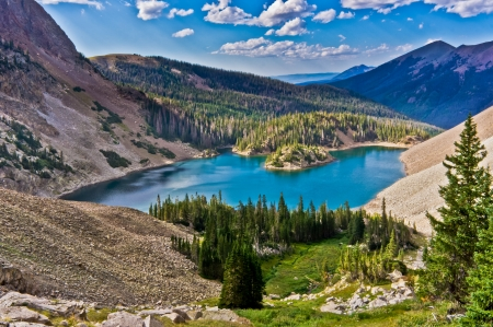 colorado rocky mountains: Lake Agnes is a popular hiking and fishing destination in the Colorado State Forrest State Park