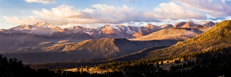 Panarama of Longs Peak and the continental divide in Rocky Mountain National Park as seen from deer ridge.