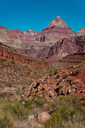 rock layers: Vishnu Temple as viewed from Hance Creek, Grand Canyon National Park