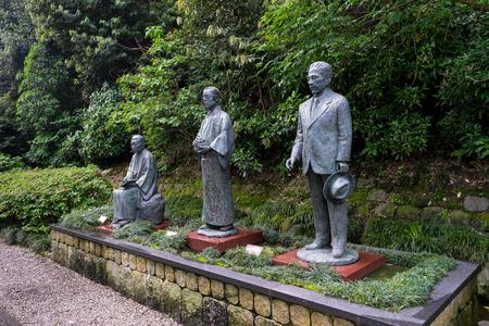 Kanazawa, Japan - May 12, 2017 : The statues of Kanazawa's three great literary figures: Murou Saisei, Tokutomi Roka and Izumi Kyoka, located at Swan Road. Swan Road is an esplanade that features rich nature. It stretches 300m or so from Ishikawa-mon to O