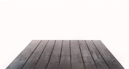 Grunge wooden table top, perspective on white background.