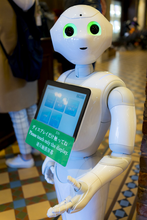 Hokkaido, Japan - October 18, 2017 :  Softbanks Pepper Robot in Sapporo. It is a humanoid robot named Pepper, which is claimed can identify human emotions and respond to them. It is used AI technology.