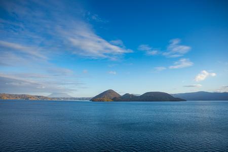Nakajima Island in Lake Toya, Hokkaido, Japan. Beautiful sunny day scenic view  on autumn season. Reklamní fotografie
