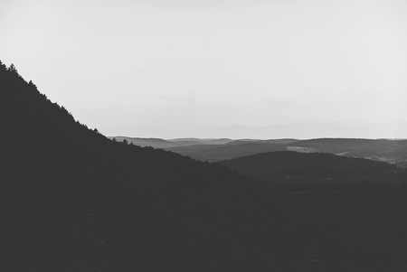 expansive: This is an expansive perspective atop a beautiful and ominous mountain spot. Stock Photo