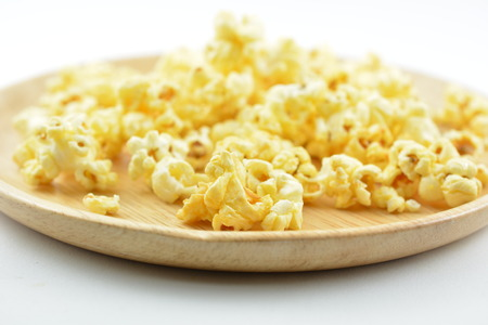 buttered: Roasted yellow sweet  popcorn Stock Photo