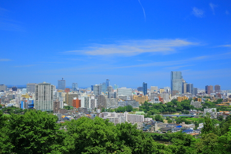 Site of Sendai Castle in Sendai city landscape