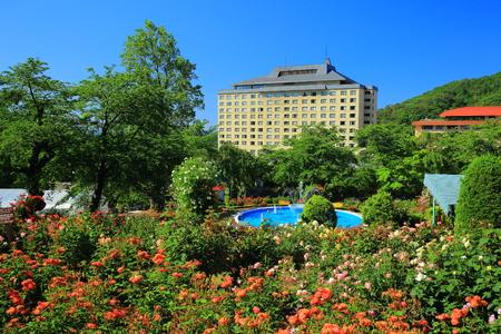 Hanamaki aguas termales jardín de rosas Editorial