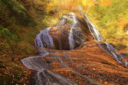 Aomori Prefecture TAGO-Cho leaves Miroku waterfall Stock Photo