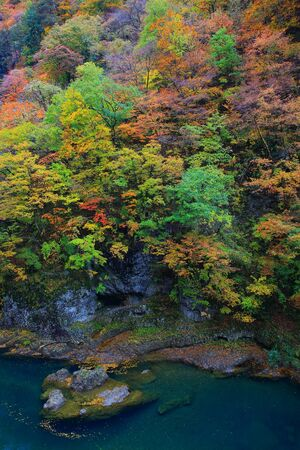 Akita Prefecture autumn dakigaeri Valley Stock Photo