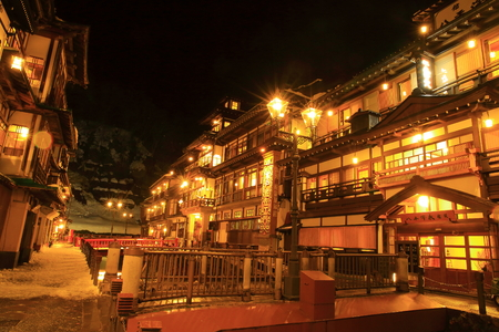 mine site: Ginzan Onsen in winter