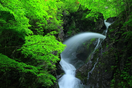 Summer nanaori falls Stock Photo