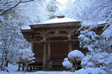 winter hiraizumi in chuson-ji Temple Stock Photo
