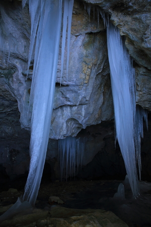 Icicle in Tono city hermit goddess of mercy cave