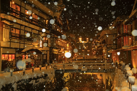 Ginzan Onsen, Japan in winter 에디토리얼