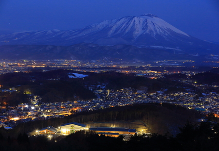 Iwate volcano and at night