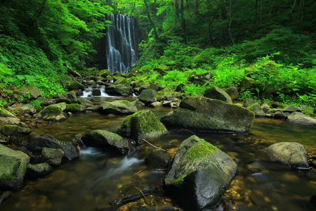 Summer kameda fudo waterfall 写真素材