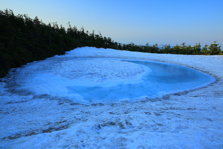 Hachiman-Taira thaw Kagami Lake Stock Photo