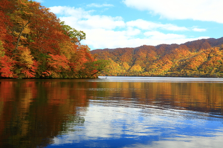 Towada Lake in autumn 写真素材